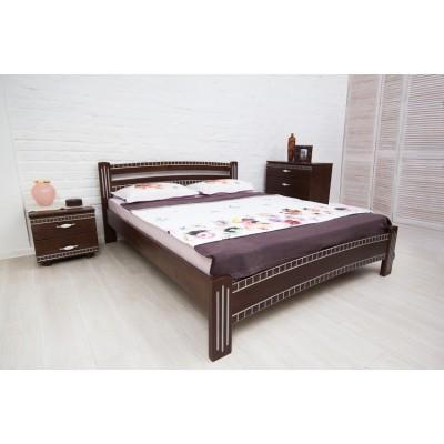 Ліжко Мілана Люкс з фрезеруванням та патиною 160х200 см (темний венге)